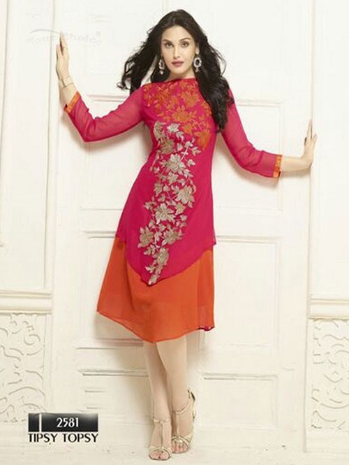 Pink Colored Beautiful Heavy Faux Georgette Designer Kurti.