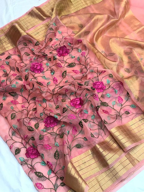 Pink Colored Beautiful Kashmiri Embroidered Branded Organza Silk Sarees
