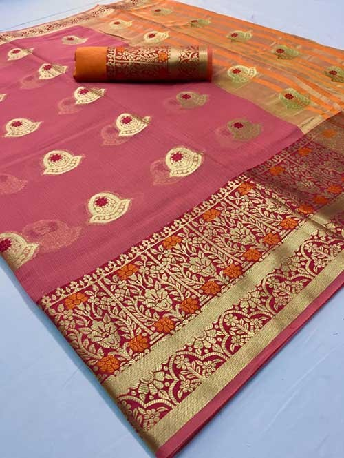 Pink Colored Beautiful Kota Silk Zari Weaving Saree Online