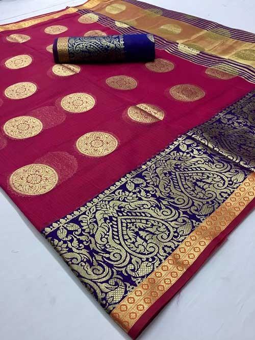 Pink Colored Beautiful Kota Silk Zari Weaving Saree Online