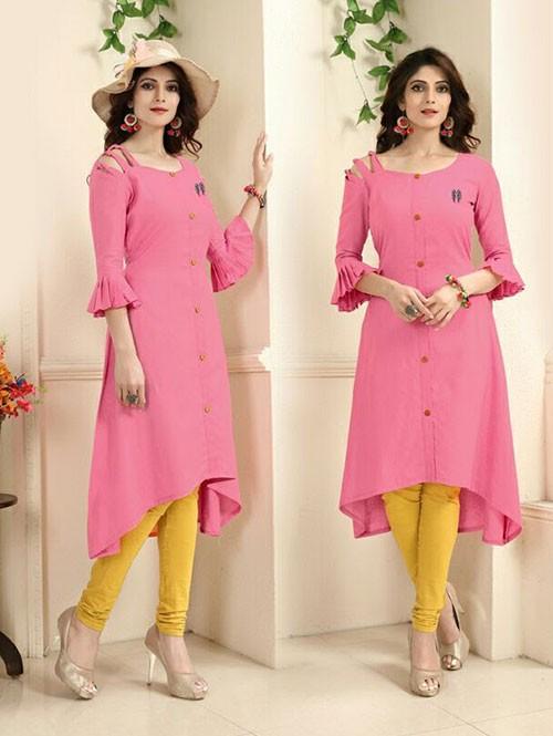 Pink Colored Beautiful Linen Cotton Kurti (