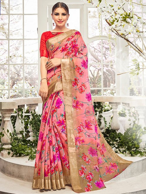 Pink Colored Beautiful Linen Cotton Saree With Authentic Handloom Art Prints Based On Mastered Art Of Weaving Fabrics