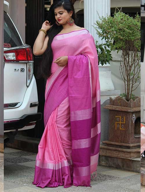 Pink Colored Beautiful Linen Saree With Running Blouse