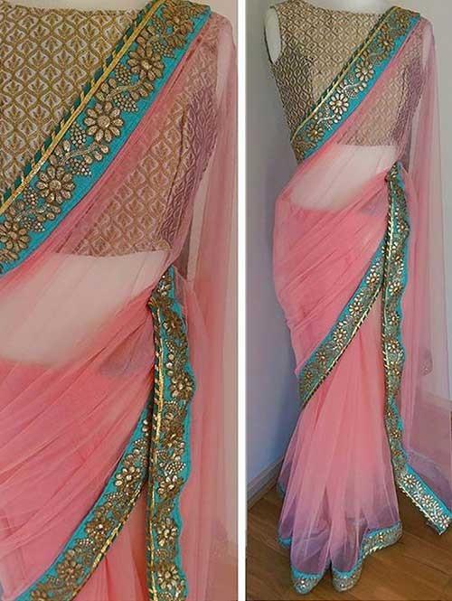 Pink Colored Beautiful Nylon Mono Net Saree