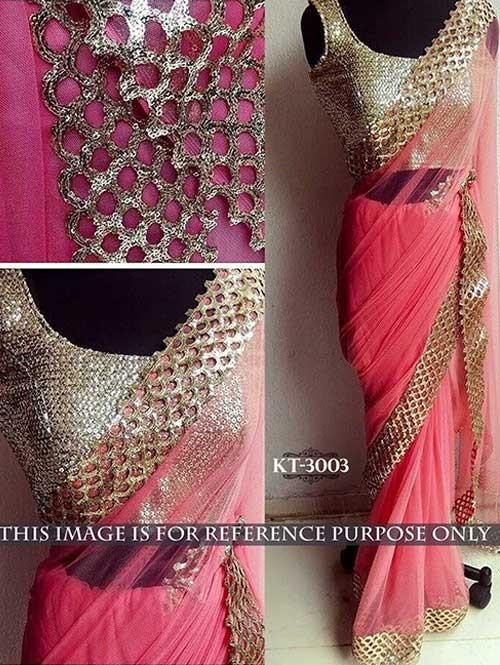 Pink Colored Beautiful Nylon Net Saree