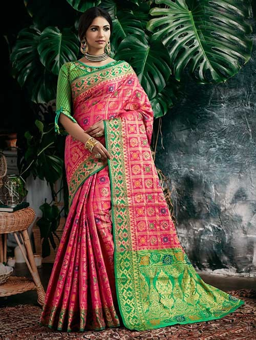 Pink Colored Beautiful Patola Silk Saree