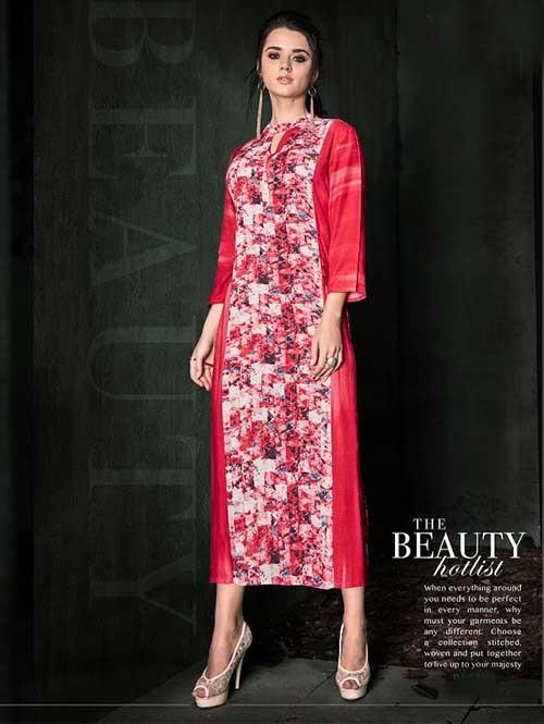 Pink Colored Beautiful Printed A-Line Rayon Kurti