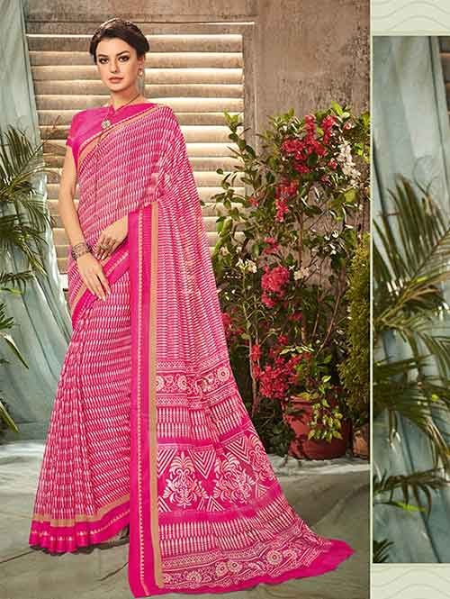 Pink Colored Beautiful Printed Chiffon Saree