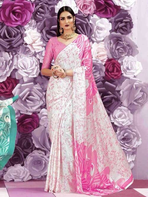 Pink Colored Beautiful Printed Crepe Saree