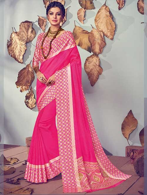 Pink Colored Beautiful Printed Kota Silk Saree
