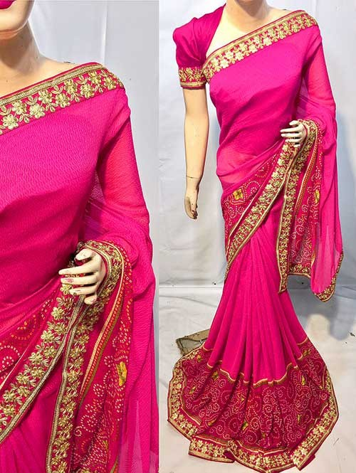 Pink Colored Beautiful Printed Pure chiffon soothe fabric Saree which has Beautiful Embroidered Border.