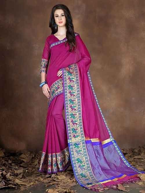 Pink Colored Beautiful Pure Soft Cotton Saree With Exclusive Latkan