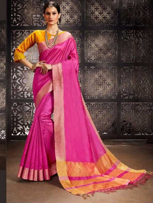 Pink Colored Beautiful Raw Silk Saree With Double Blouse