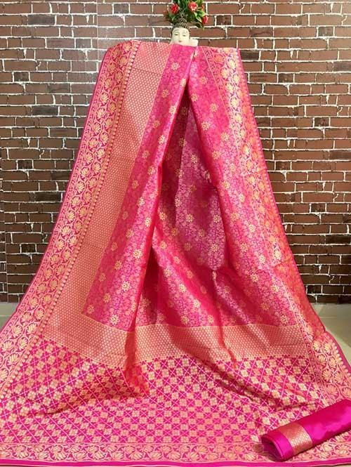 Pink Colored Beautiful Soft Banarasi Silk Fancy Saree Online