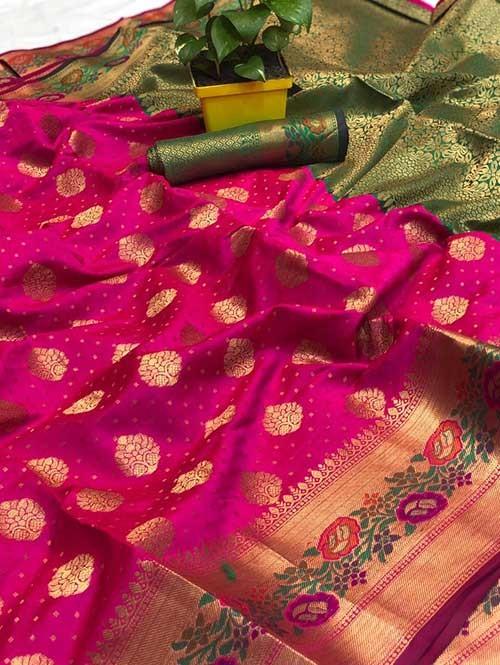 Pink Colored Beautiful Soft Banarasi Silk Mina Work Silk Saree Online