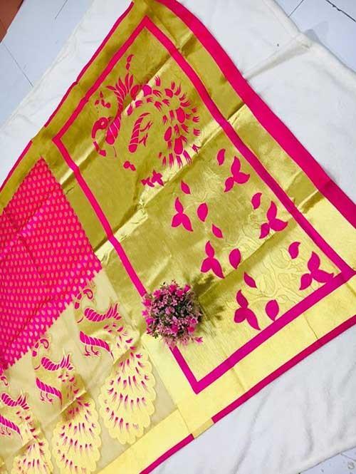 Pink Colored Beautiful Soft Banarasi Silk Saree Online