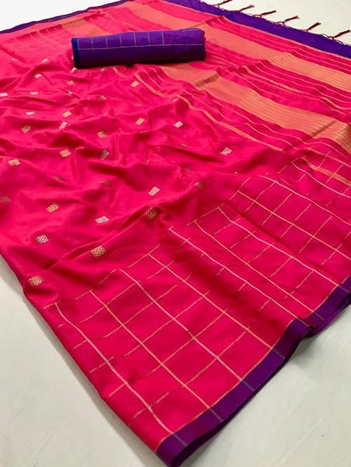 Pink Colored Beautiful Soft Silk Fancy Saree Online - Mishika