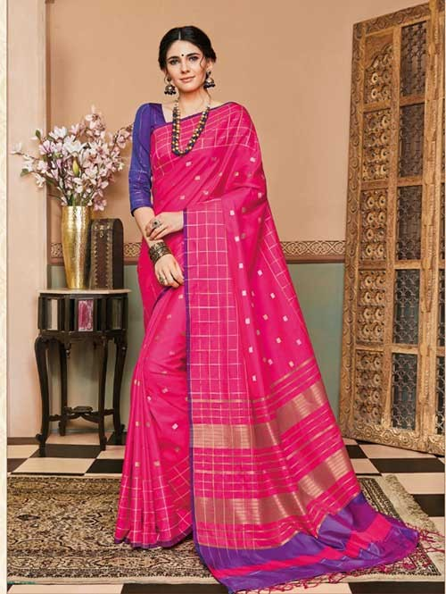 Pink Colored Beautiful Soft Silk Fancy Saree Online - Mishika