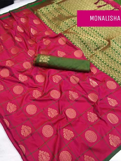 Pink Colored Beautiful Soft Silk Saree Online - Monalisha