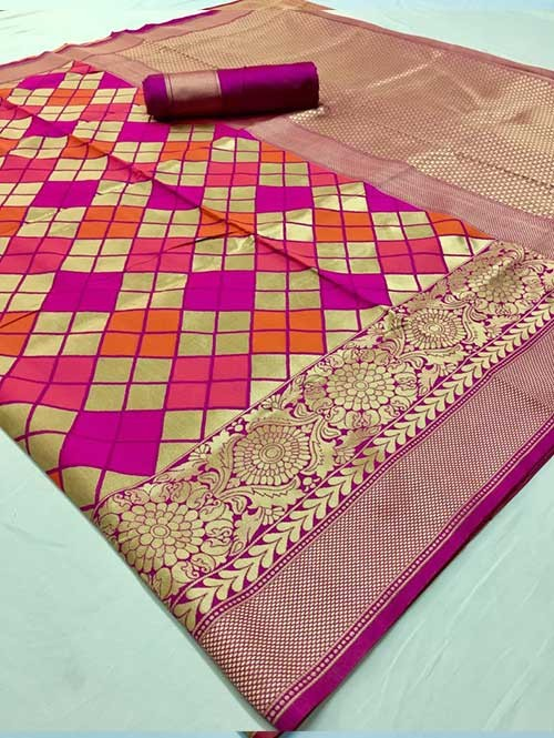 Pink Colored Beautiful Soft Silk Traditional Saree Online - Maher