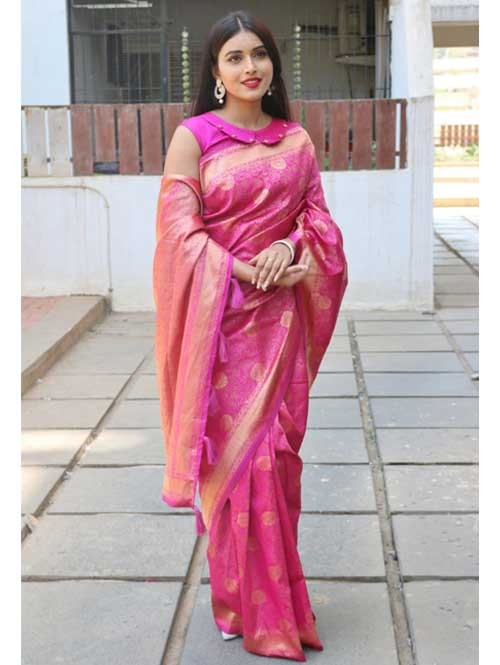 Pink Colored Beautiful Soft Silk Traditional Saree Online - Ria