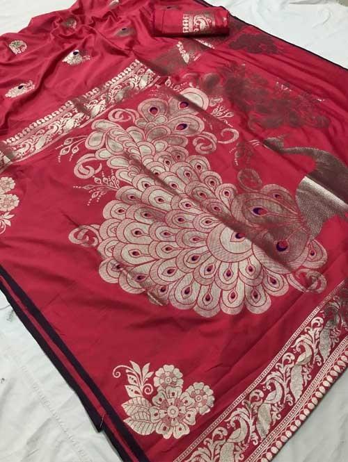 Pink Colored Beautiful Soft Weaving Silk Peacock Pallu Designer Saree - peacock feather
