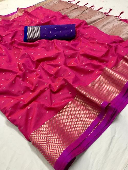 Pink Colored Beautiful Thousand Butta Of Zari Soft Saree