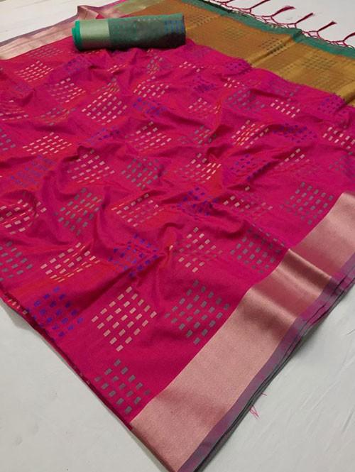 Pink Colored Beautiful Thousand Butta Of Zari Soft Saree - Kangan