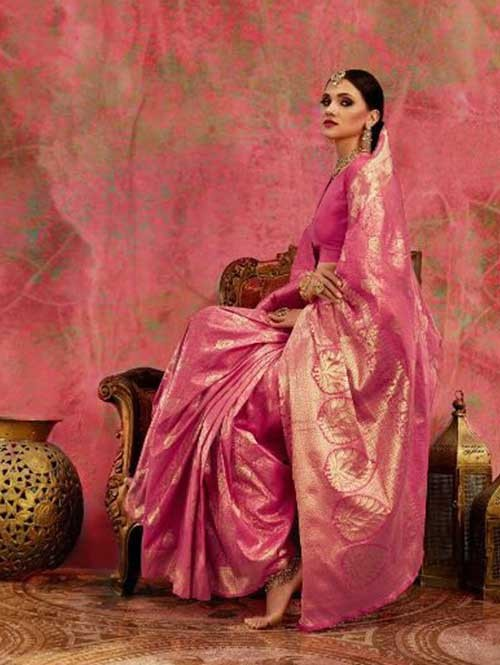 Pink Colored Beautiful Waving Silk Saree