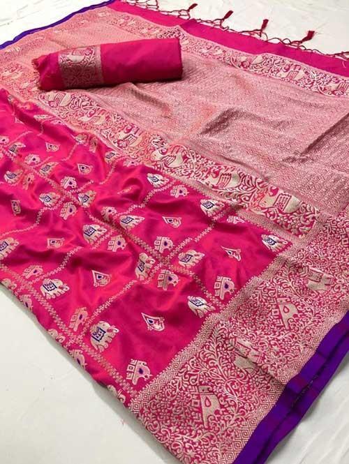 Pink Colored Beautiful Weaving Banarasi Silk Saree