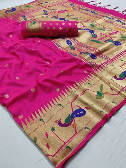 Pink Colored Beautiful Weaving Paithani Silk Saree - Paithani
