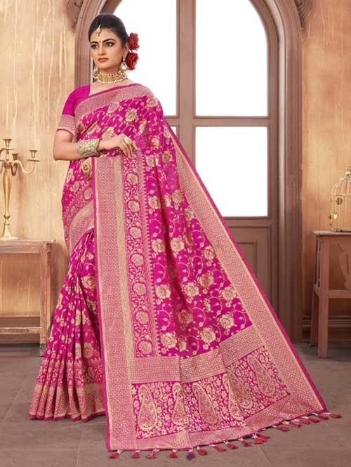 Pink Colored Beautiful Weaving Silk Saree - Digi Moda