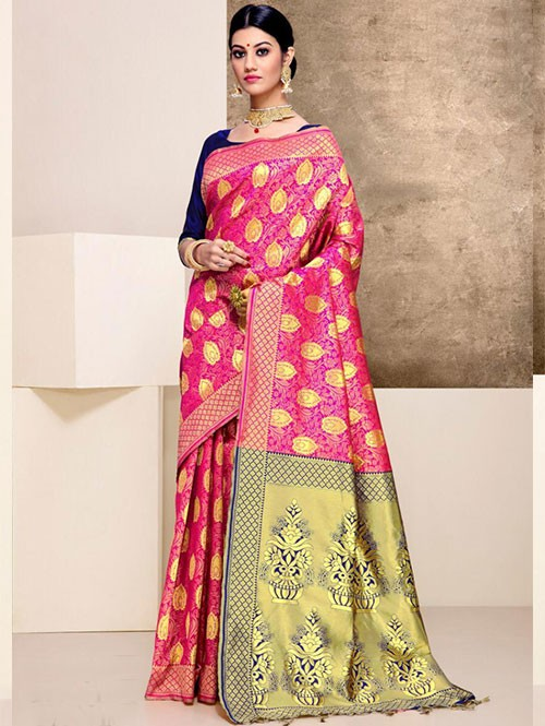 Pink Colored Beautiful Weaving Silk Saree - Tanisi