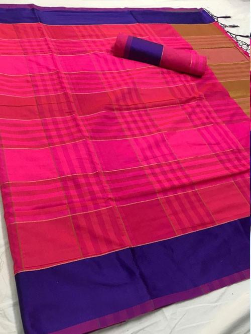 Pink Colored Beautiful Weaving Silk Saree - Tulika jashi