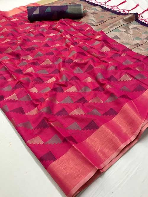 Pink Colored Beautiful Weaving Silk Saree - Yutika
