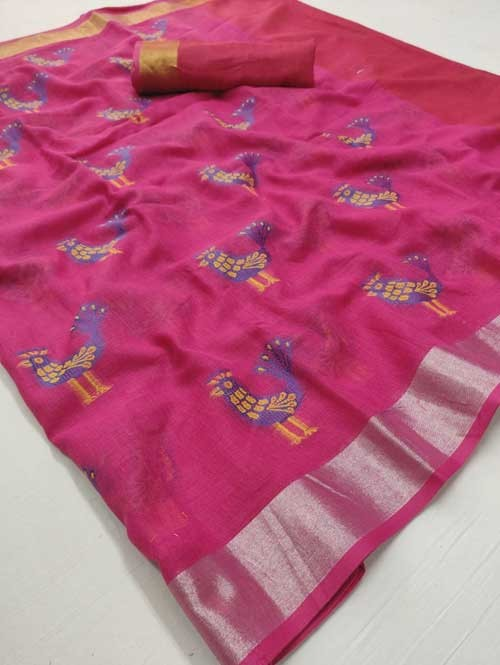 Pink Colored Beautiful Woven Linen Saree - Sneha