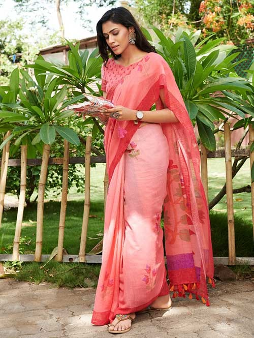 Pink Colored Beautiful Woven Linen Silk Saree - Pearl