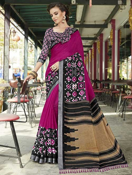Pink Colored Beautiful Zari weaving Linen Silk Traditional Saree