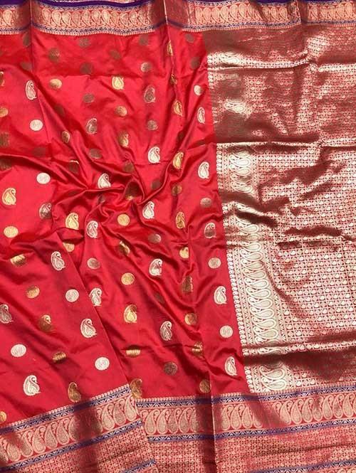 Pink Colored Beautiful Zari Weaving Saree Online