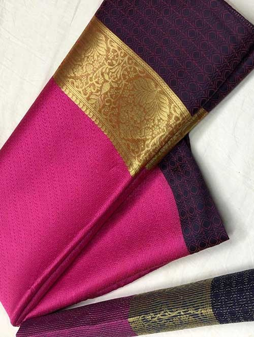 Pink Colored Branded Soft Muslin Silk Saree - Poshak