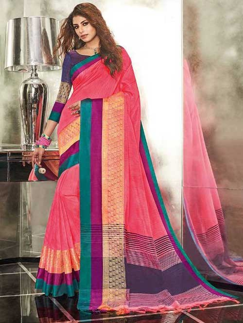 Pink Colored Branded Weaving Silk Saree