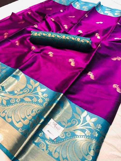 Pink Colored Cotton Silk Saree - Ahaana