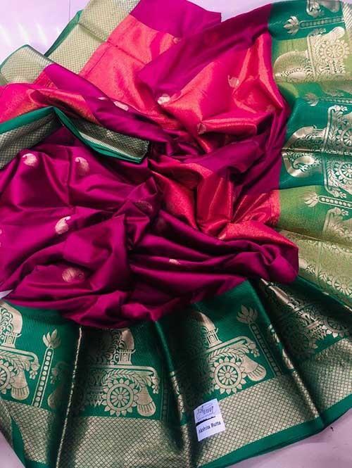 Pink Colored Cotton Silk Saree - Ashika Butta