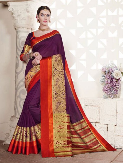 Pink Colored Cotton Silk Saree