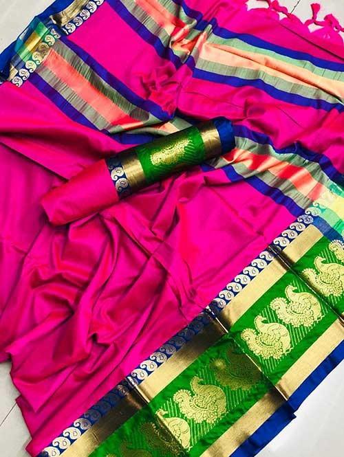 Pink Colored Cotton Silk Saree- Veera