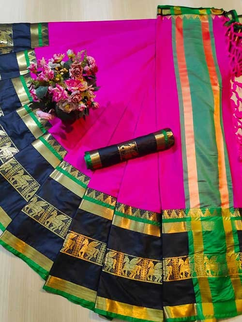 Pink Colored Cotton Silk Saree - Horse