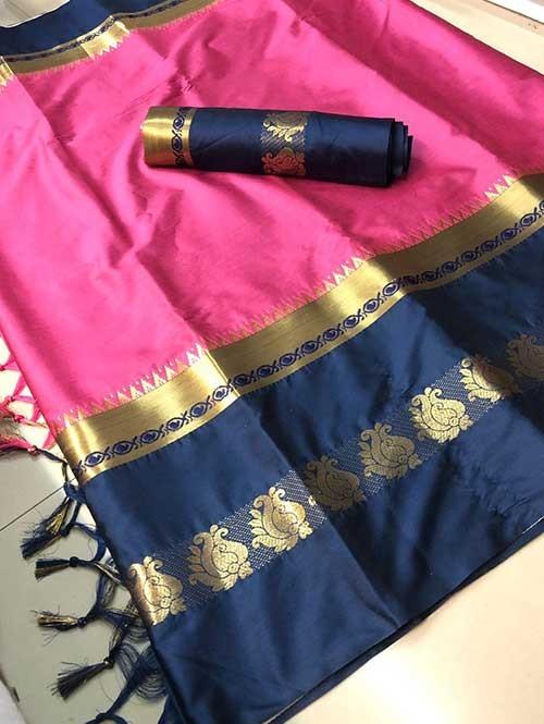 Pink Colored Cotton Silk Saree - Karishma