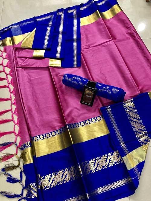 Pink Colored Cotton Silk Saree - Paya