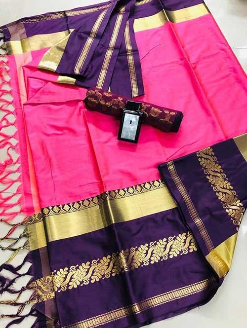 Pink Colored Cotton Silk Saree - Payal