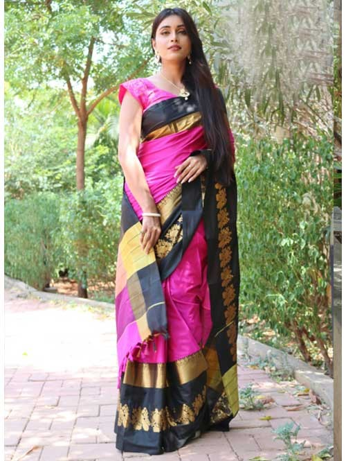 Pink Colored Cotton Silk Saree with Extra Blose Piece - Rich Mayurica